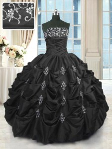 High Class Black Quince Ball Gowns Military Ball and Sweet 16 and Quinceanera and For with Beading and Lace and Appliques and Pick Ups Strapless Sleeveless Lace Up