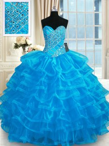 Best Blue Organza Lace Up Quinceanera Dresses Sleeveless Floor Length Beading and Ruffled Layers