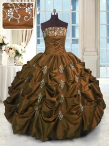 Designer Brown Taffeta Lace Up Strapless Sleeveless Floor Length Sweet 16 Dresses Beading and Pick Ups