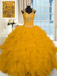 Beautiful Gold Organza Lace Up Sweet 16 Dress Cap Sleeves Floor Length Beading and Ruffles