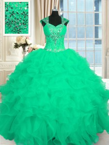 Smart Turquoise Ball Gowns Straps Cap Sleeves Organza Floor Length Lace Up Beading and Ruffles and Pattern Sweet 16 Dress