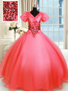Floor Length Ball Gowns Short Sleeves Coral Red Sweet 16 Quinceanera Dress Lace Up