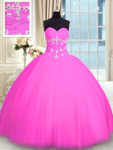 Sweet Appliques 15th Birthday Dress Pink Lace Up Sleeveless Floor Length