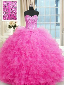Sweetheart Sleeveless Quinceanera Dresses Floor Length Beading and Ruffles Hot Pink Tulle