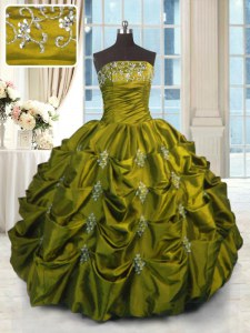Custom Made Green Strapless Lace Up Beading and Appliques and Embroidery and Pick Ups Ball Gown Prom Dress Sleeveless