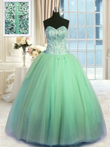 Organza Sleeveless Floor Length 15 Quinceanera Dress and Beading and Ruching