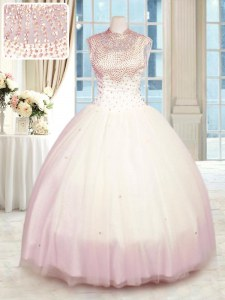 Fashionable Sleeveless Floor Length Beading Zipper 15th Birthday Dress with Baby Pink
