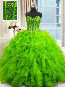 Sweetheart Sleeveless Organza Sweet 16 Dresses Beading and Ruffles and Sequins Lace Up