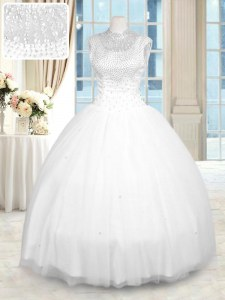 White Ball Gowns High-neck Sleeveless Tulle Floor Length Zipper Beading Sweet 16 Quinceanera Dress