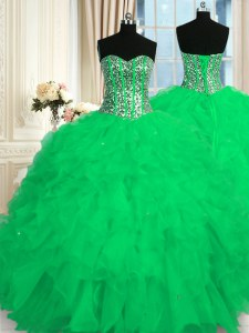 Turquoise Quince Ball Gowns Military Ball and Sweet 16 and Quinceanera and For with Beading and Ruffles Sweetheart Sleeveless Lace Up