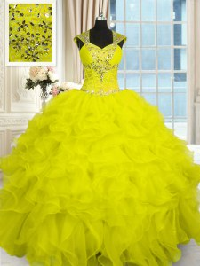 Free and Easy Yellow Lace Up Straps Beading and Ruffles Quince Ball Gowns Organza Cap Sleeves