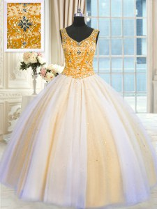 Shining Sequins V-neck Sleeveless Lace Up 15 Quinceanera Dress Multi-color Tulle