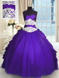 Decent Taffeta and Tulle Sleeveless Floor Length Quinceanera Dresses and Beading and Lace and Appliques and Ruching and Pick Ups