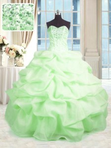 Sweetheart Sleeveless Lace Up Sweet 16 Dresses Organza