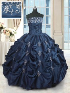 Exquisite Navy Blue Quinceanera Gowns Military Ball and Sweet 16 and Quinceanera and For with Beading and Pick Ups Strapless Sleeveless Lace Up