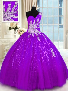 Custom Designed One Shoulder Sleeveless Appliques Lace Up Sweet 16 Quinceanera Dress
