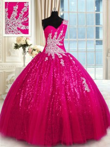 Hot Pink Ball Gowns One Shoulder Sleeveless Tulle and Sequined Floor Length Lace Up Appliques Quince Ball Gowns