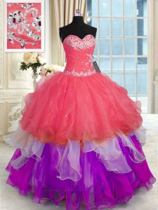 Comfortable Sleeveless Organza Floor Length Lace Up Sweet 16 Dress in Multi-color with Beading and Appliques