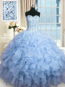 Sequins Ball Gowns Quinceanera Gown Light Blue Sweetheart Organza Sleeveless Floor Length Lace Up