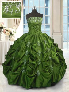 Best Pick Ups Green Sleeveless Taffeta Lace Up Sweet 16 Dress for Military Ball and Sweet 16 and Quinceanera