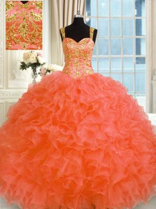 Enchanting Floor Length Lace Up Quince Ball Gowns Orange Red for Military Ball and Sweet 16 and Quinceanera with Embroidery and Ruffles