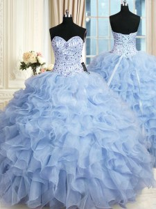 Edgy Sleeveless Organza Floor Length Lace Up Ball Gown Prom Dress in Light Blue with Beading and Ruffles