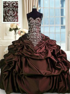 Artistic Burgundy Sweetheart Neckline Beading and Embroidery and Pick Ups 15th Birthday Dress Sleeveless Zipper