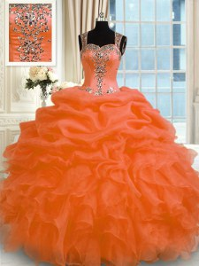 Orange Red Sleeveless Appliques Floor Length Quinceanera Gowns
