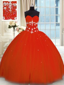 Red Tulle Lace Up Sweetheart Sleeveless Floor Length 15 Quinceanera Dress Appliques