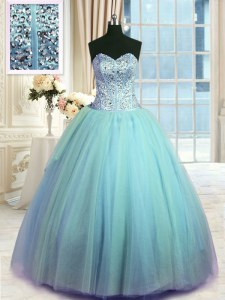 Fashion Floor Length Light Blue Ball Gown Prom Dress Sweetheart Sleeveless Lace Up