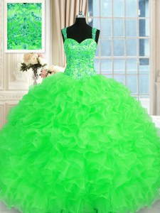 Luxury Straps Neckline Beading and Embroidery and Ruffles Sweet 16 Quinceanera Dress Sleeveless Lace Up