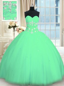 Floor Length Turquoise Quinceanera Gowns Tulle Sleeveless Appliques