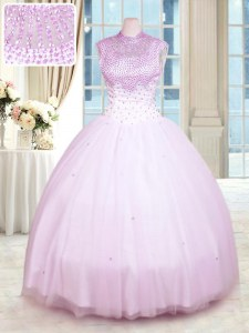 Best Selling Floor Length Lilac Quinceanera Gowns High-neck Sleeveless Zipper