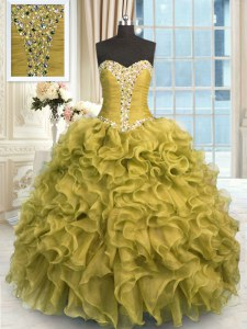 Floor Length Brown 15 Quinceanera Dress Organza Sleeveless Beading and Ruffles