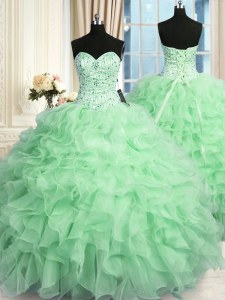 Spectacular Apple Green Lace Up 15th Birthday Dress Beading and Ruffles Sleeveless Floor Length