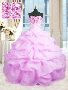 Lilac Ball Gowns Sweetheart Sleeveless Organza Floor Length Lace Up Beading and Ruffles Sweet 16 Quinceanera Dress