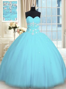 Sweetheart Sleeveless Tulle Sweet 16 Dresses Appliques Lace Up