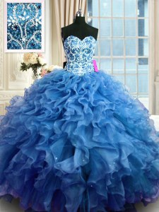 Fantastic Floor Length Blue Sweet 16 Dress Organza Sleeveless Beading and Ruffles