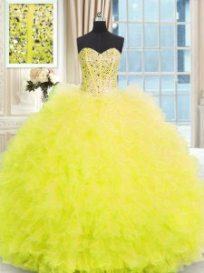 Light Yellow Strapless Neckline Beading and Ruffles Sweet 16 Dresses Sleeveless Lace Up