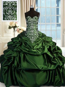 Taffeta Sweetheart Sleeveless Zipper Beading and Embroidery and Pick Ups Ball Gown Prom Dress in Dark Green