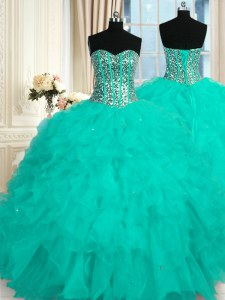 Aqua Blue Sweetheart Neckline Beading and Ruffles 15th Birthday Dress Sleeveless Lace Up