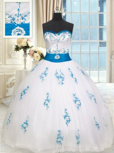 Ball Gowns Sweet 16 Dresses White Sweetheart Tulle Sleeveless Floor Length Lace Up