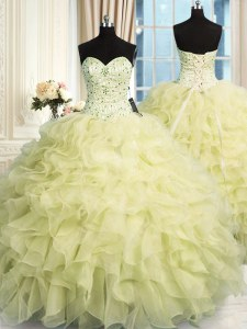 Stylish Organza Sleeveless Floor Length Ball Gown Prom Dress and Beading and Ruffles