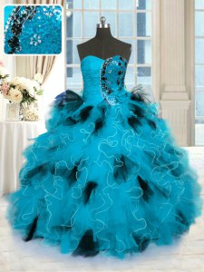 Discount Blue And Black Sweet 16 Dress Military Ball and Sweet 16 and Quinceanera and For with Beading and Ruffles Strapless Sleeveless Lace Up