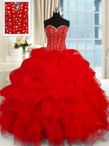 Wine Red Ball Gowns Sweetheart Sleeveless Organza Floor Length Lace Up Beading and Ruffles 15th Birthday Dress