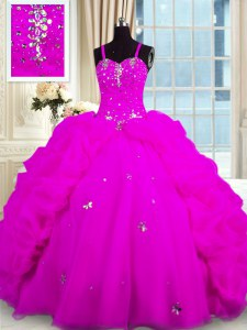 Admirable Sleeveless Lace Up Floor Length Beading and Pick Ups Quinceanera Gown