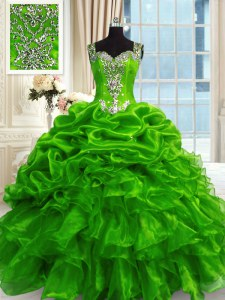 Romantic Green Sleeveless Floor Length Beading and Ruffles and Pick Ups Lace Up Sweet 16 Dress