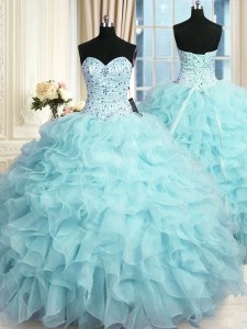 High End Aqua Blue Ball Gowns Organza Sweetheart Sleeveless Beading and Ruffles Floor Length Lace Up Quinceanera Gown