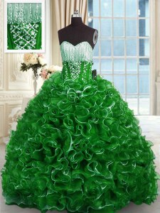 Sweetheart Sleeveless Organza Ball Gown Prom Dress Beading and Ruffles Brush Train Lace Up