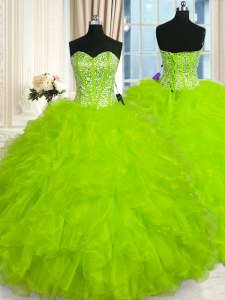Exquisite 15th Birthday Dress Military Ball and Sweet 16 and Quinceanera and For with Beading and Ruffles Sweetheart Sleeveless Lace Up